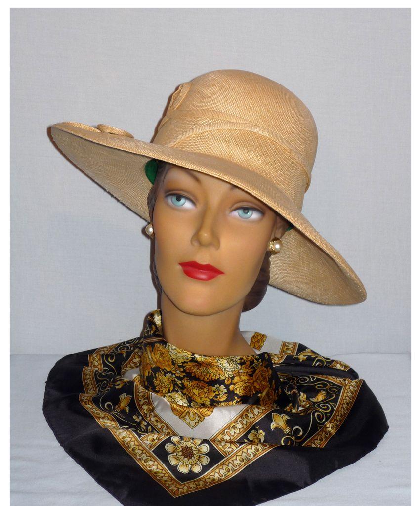 Vintage 1970s  Mr John Jr Natural Straw Brimmed Hat