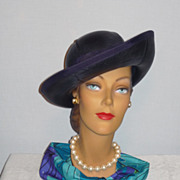 Vintage 1960s  Winner Original Blue Woven Straw Breton