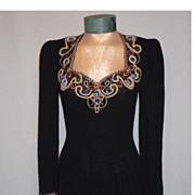 Vintage 1970s Lillie Rubin Black Knit Dress With Spectacular Beaded Neckline