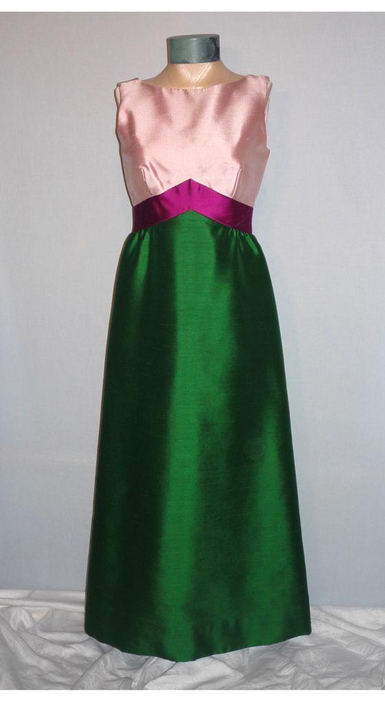 1960s Elegant Custom Made Formal Evening Gown