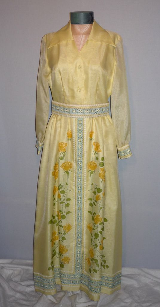 Vintage 1970s Alfred Shaheen Yellow Floral Evening Dress