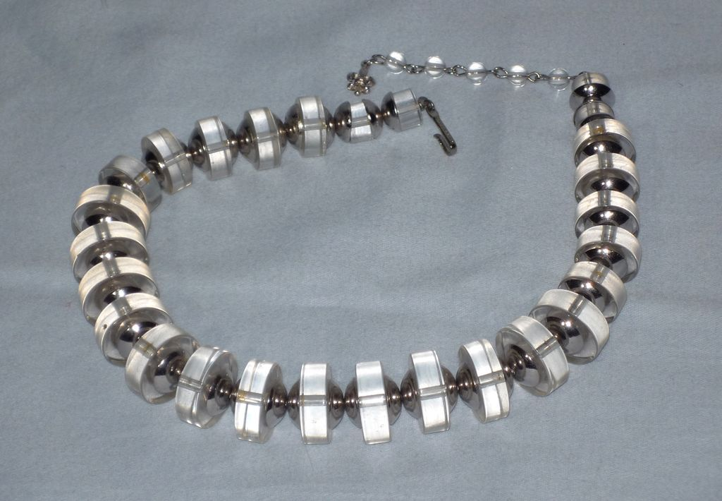 Vintage 1960s  Vendome Lucite and Chrome Plated Choker