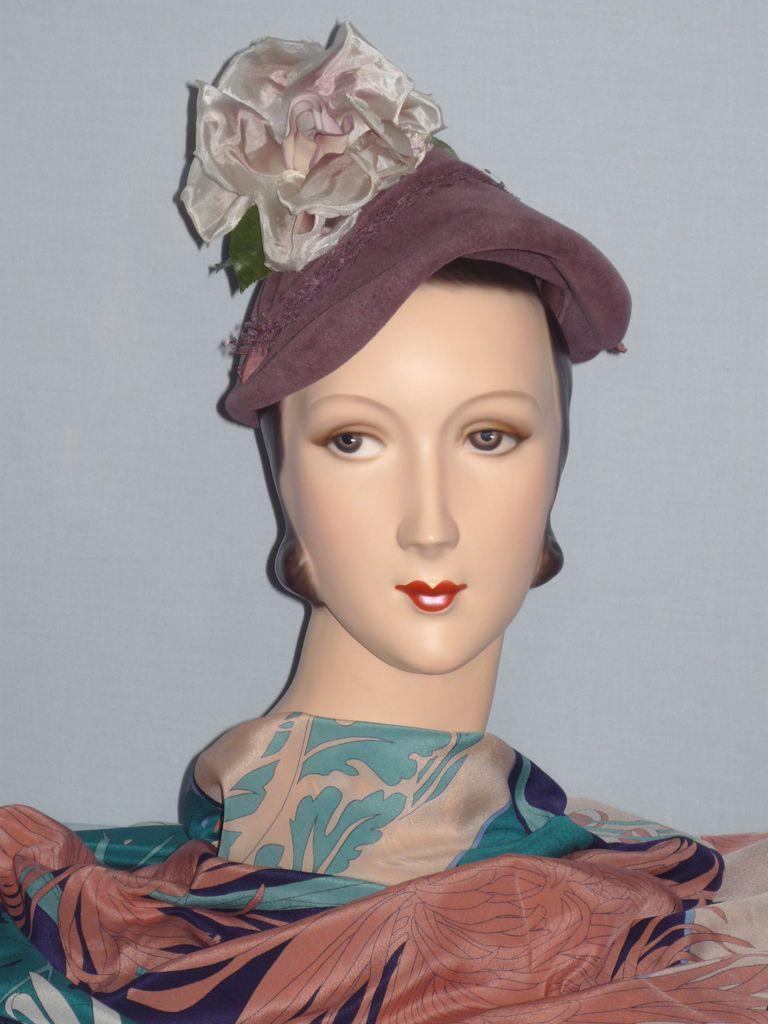Vintage 1940s  Jacques Fath Reproduction of Original  Paris Velour Hat With Rose Detail