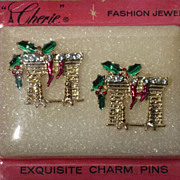 Vintage 1960s Christmas Hearth Charm Pins Cherie Fashion Jewelry  Deadstock