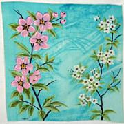 Vintage Colette Dogwood Print Cotton Hanky