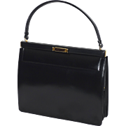 Vintage Late 1950s-Early 1960s Nettie Rosenstein Black Leather Handbag Made in Florence Italy