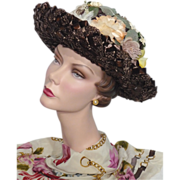 Vintage 1960s Linda Original Brown Straw Breton Hat With Floral Crown