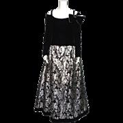 Vintage 1980s Victor Costa Black Velvet and Silver Brocade Formal Evening Gown