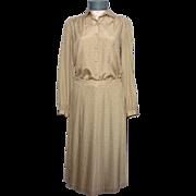 Vintage 1970s Pierre Balmain 2pc Tan Silk Dress