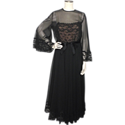 Vintage 1970s Black Chiffon and Lace Cocktail Dress