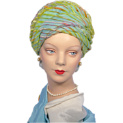 Vintage 1960s Reggi of Wilshire Turquoise Striped Turban Hat