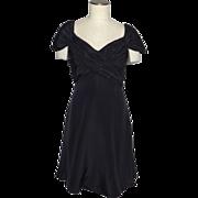 Vintage 1980s Scaasi Boutique Black Silk Cocktail Dress Originally Sold at Saks Fifth Avenue