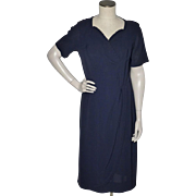 Vintage 1950s Radiant Exclusive Navy Blue Rayon Crepe Dress