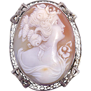 Antique Edwardian 14kt White Gold Cameo Brooch Pendant Hand Carved Shell