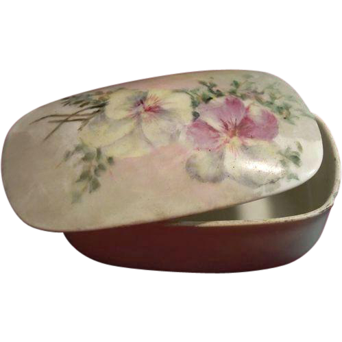 Victorian T & V Limoges Hand-Painted Porcelain Match Striker and Box