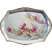 "Signed ""E. Olmsted"" Silesia Hand-Painted Porcelain Tray Circa 1925"