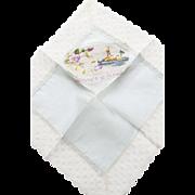 "Silk and Lace World War I Embroidered ""Souvenir De France"" Handkerchief"