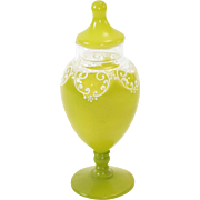 Apple Green and Clear Glass Antique Boudoir Jar