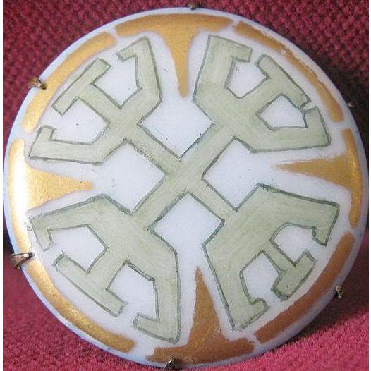 Art Deco 1920's Pastel Hand-Painted Geometric Porcelain Brooch