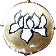 Gold, Black and White Art Deco Round Lily Porcelain Pin