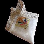 World War I White Silk and Lace Souvenir de France Handkerchief