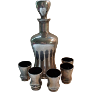 Art Deco Black Glass and Silver Overlay Liqueur Decanter and Shot Glass Set