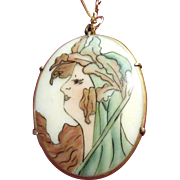 Art Nouveau Lady Porcelain Oval Necklace on Chain