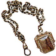 19th Century Gold-Filled Goldstone and Enamel Watch Fob