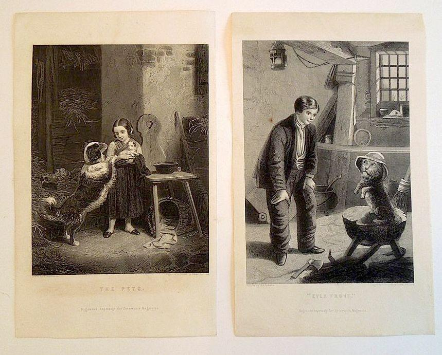 Pair of 19th Century Pet Engravings  'The Pets' and 'Eyes Front'