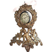 Victorian Cherub Gilt Iron Pocketwatch Holder Circa 1875