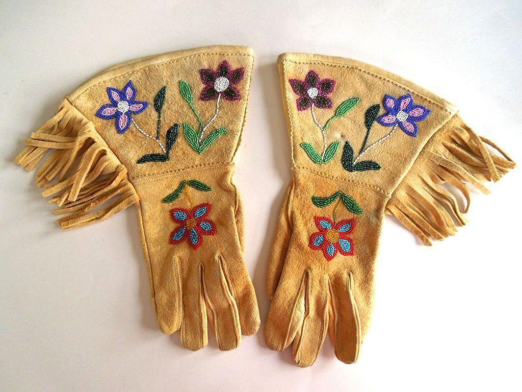 Authentic Native American Plateau Beaded Buckskin Gauntlets