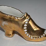 Shoe lover's delight - Gold Porcelain Antique Shoe