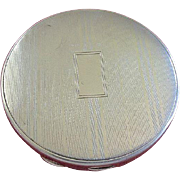 Art Deco 1920's Antique Sterling Silver Striped Round Compact Hallmarked