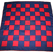 Vintage 1960's Mod Navy and Red Checked Racing Scarf
