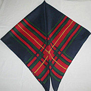 Vintage Red, Blue and Green Plaid 1960's Silk Scarf