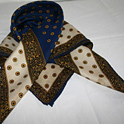 Vintage 1960's Navy and Gold Paisley Designer Silk Scarf