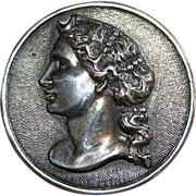 "Sterling ""Woman With Curls"" Profile Brooch"