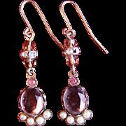 Fabulous Vintage Light Topaz and Seed Pearl Drop earrings