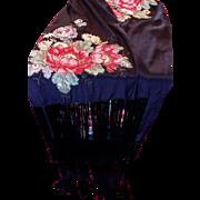 Victorian  Black Silk and Bronze Metallic Embroidered Fringed Shawl
