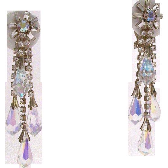 Swarovski Crystals Aurora Borealis Briolettes Shoulder Duster Clip Earrings