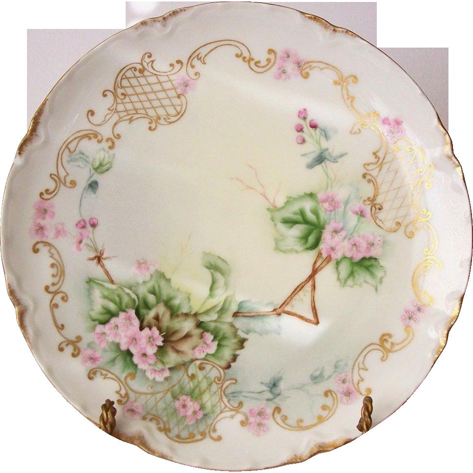 Haviland France Limoges Plate Floral Vines and Lattice Artist Signed