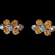 Topaz and Blue Aurora Borealis Rhinestone Screw Back Earrings