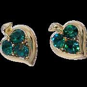 Teal Green Rhinestone Screw Back Earrings