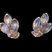 Blue Marquis Rhinestone Clip Earrings