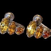 Citrine And Topaz Colors Rhinestone Screw Back Earrings