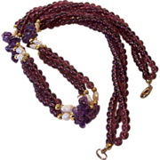 Amethyst Chips Garnet Glass Beads Freshwater Rice Pearls Torsade Necklace