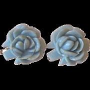 Vintage Celluloid Carved Rose Screw Back Earrings
