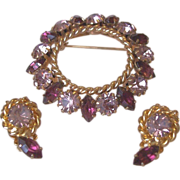 Purple and Lavender Rhinestones Pin Clip Earrings Set