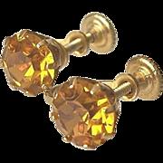 Topaz Glass Screw On Earrings