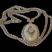 1928 Company Locket Necklace Ivory Enamel and Rosette